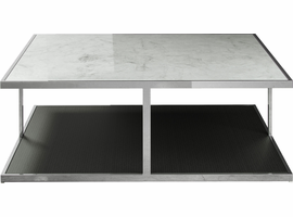 Modloft Ann Coffee Table in White Marble on Wenge