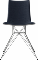 Modloft Audley Dining Chair in Blue Denim on Glossy White