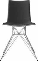 Modloft Audley Dining Chair in Charcoal Denim on Glossy White