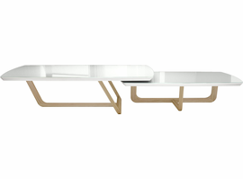 Modloft Belvedere Nested Coffee Tables in White Glass on Natural