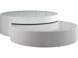 Modloft Berkeley Nested Coffee Tables in White Glass on White Oak