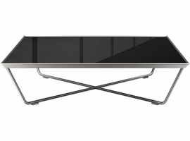 Modloft Cale Coffee Table in Black Glass