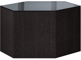 Modloft Centre 10in. Occasional Table in Asphalt Glass on Gray Oak