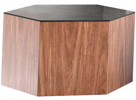 Modloft Centre 10in. Occasional Table in Black Glass on Walnut