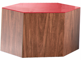 Modloft Centre 10in. Occasional Table in Chili Pepper Glass on Walnut