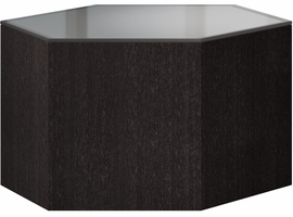 Modloft Centre 10in. Occasional Table in Cool Gray Glass on Gray Oak