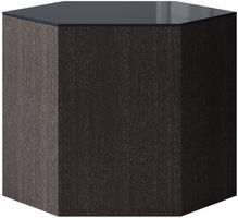 Modloft Centre 14in. Occasional Table in Asphalt Glass on Gray Oak