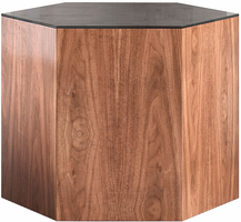 Modloft Centre 14in. Occasional Table in Black Glass on Walnut