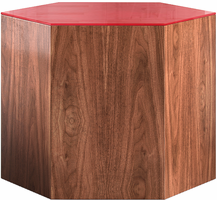 Modloft Centre 14in. Occasional Table in Chili Pepper Glass on Walnut