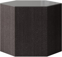 Modloft Centre 14in. Occasional Table in Cool Gray Glass on Gray Oak