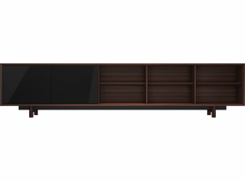 Modloft Chiswick Media Cabinet in Rosewood and Glossy Black