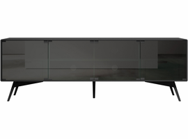 Modloft Christopher Media Cabinet in Asphalt and Smoked Glass