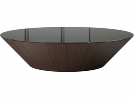 Modloft Dorset Coffee Table in Black Glass on Rovere Grigio