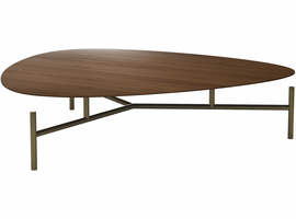 Modloft Finsbury High Coffee Table in Walnut on Brass