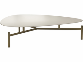 Modloft Finsbury Low Coffee Table in Almond on Brass