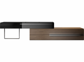 Modloft Gramercy Media Console in Glossy Black on Walnut