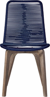 Modloft Laced Dining Chair in Blue Cord and Distressed Eucalyptus