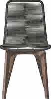 Modloft Laced Dining Chair in Dark Gray Cord and Distressed Eucalyptus