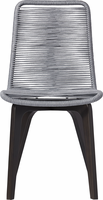 Modloft Laced Dining Chair in Light Gray Cord and Dark Eucalyptus