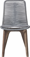 Modloft Laced Dining Chair in Light Gray Cord and Distressed Eucalyptus