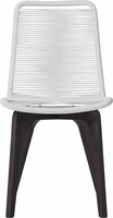 Modloft Laced Dining Chair in White Cord and Dark Eucalyptus