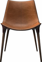 Modloft Langham Dining Chair Leather in Aged Caramel on Cathedral Ebony