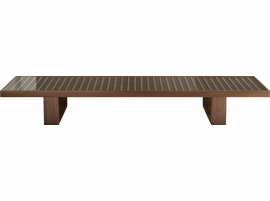 Modloft Leyton Coffee Table I in Clear on Walnut