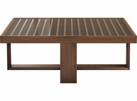 Modloft Leyton Coffee Table II in Clear on Walnut