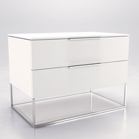 "Modloft MD365-NS-WHT Bowery 22""H White Matte on White Glass Nightstand"
