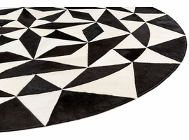 Modloft Motley Hide Rug 9' Dia. in Black and White Hide