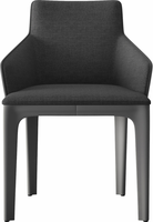 Modloft Oxford Dining Chair in Charcoal Denim on Gray