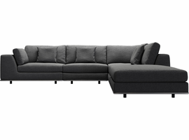 Modloft Perry 1 Left Arm Corner Sectional Sofa in Shadow Gray