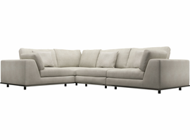 Modloft Perry 2 Arm Corner Compact Sectional Sofa in Moonbeam