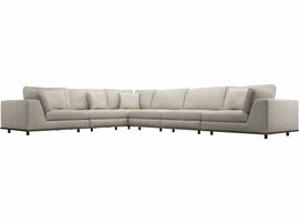 Modloft Perry 2 Arm Corner Extended Sectional Sofa in Moonbeam