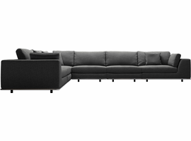 Modloft Perry 2 Arm Corner Extended Sectional Sofa in Shadow Gray