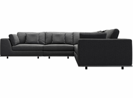 Modloft Perry 2 Arm Corner Sectional Sofa in Shadow Gray