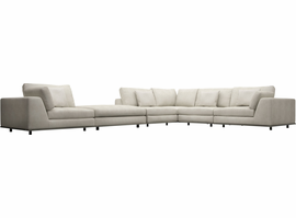 Modloft Perry 2 Arm Corner Sectional Sofa with Ottoman in Moonbeam
