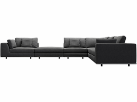 Modloft Perry 2 Arm Corner Sectional Sofa with Ottoman in Shadow Gray