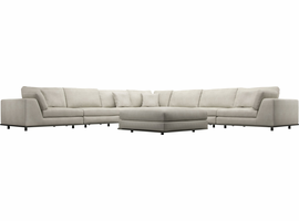 Modloft Perry 2 Arm Large Corner Sectional Sofa w Ottoman in Moonbeam