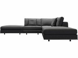 Modloft Perry Armless Corner Sectional Sofa in Shadow Gray