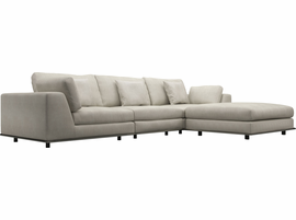 Modloft Perry Three Seat Sofa with Ottoman in Moonbeam