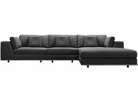 Modloft Perry Three Seat Sofa with Ottoman in Shadow Gray