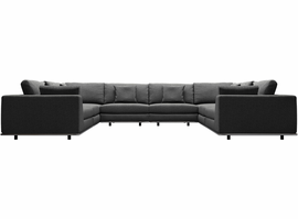 Modloft Perry U Sectional Sofa in Shadow Gray