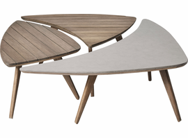 Modloft Triplica Bunching Tables in Distressed Eucalyptus and Super Stone