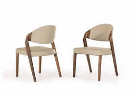 Modrest Arlo Mid-Century Grey & Walnut Dining Chair (Set of 2)