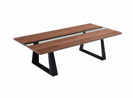 Modrest Corey Modern Walnut & Glass Coffee Table