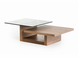 Modrest Echelon Modern Walnut and Smoked Glass Coffee Table