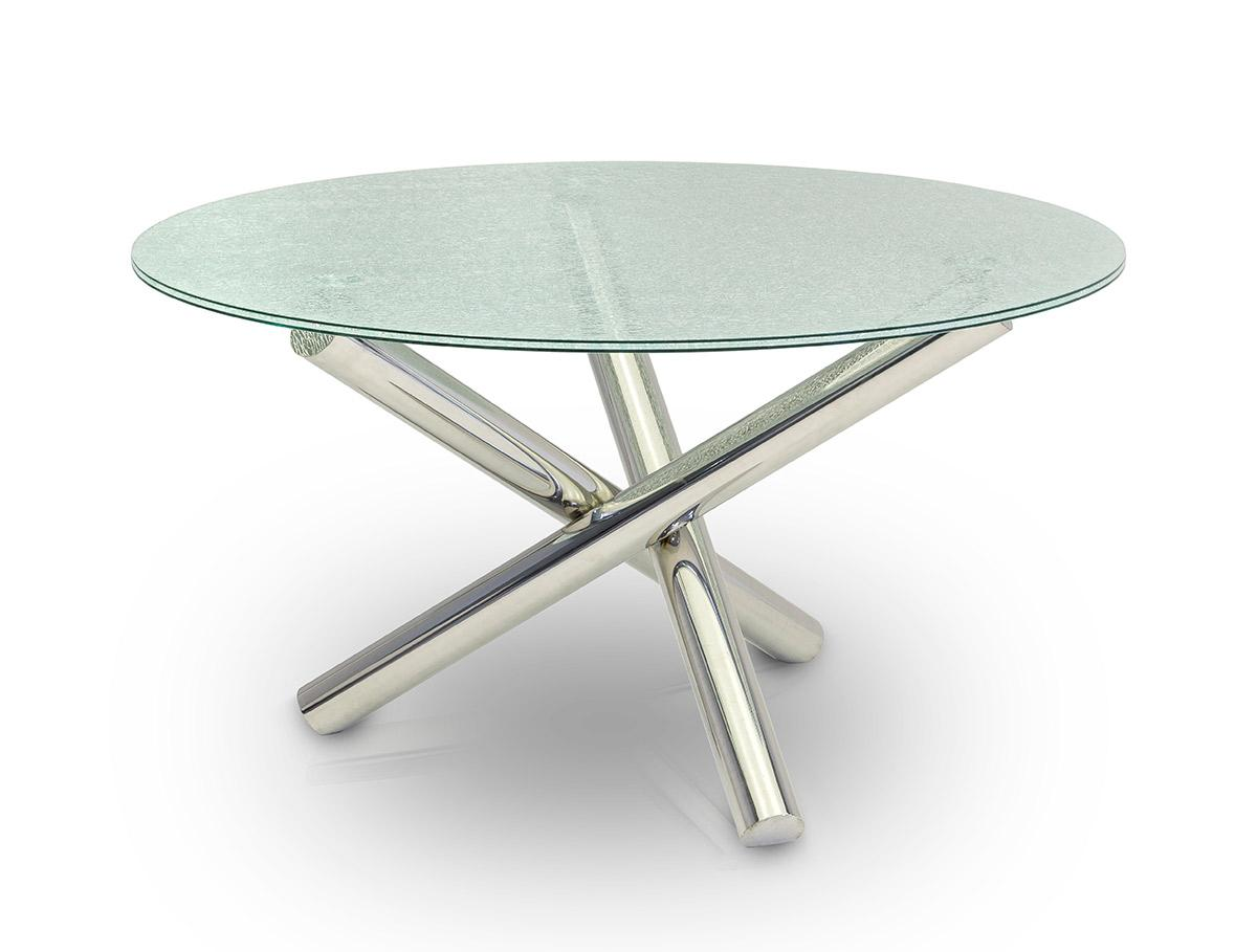 Modrest Frau Modern Round Cracked Glass Dining Table: glass dining table