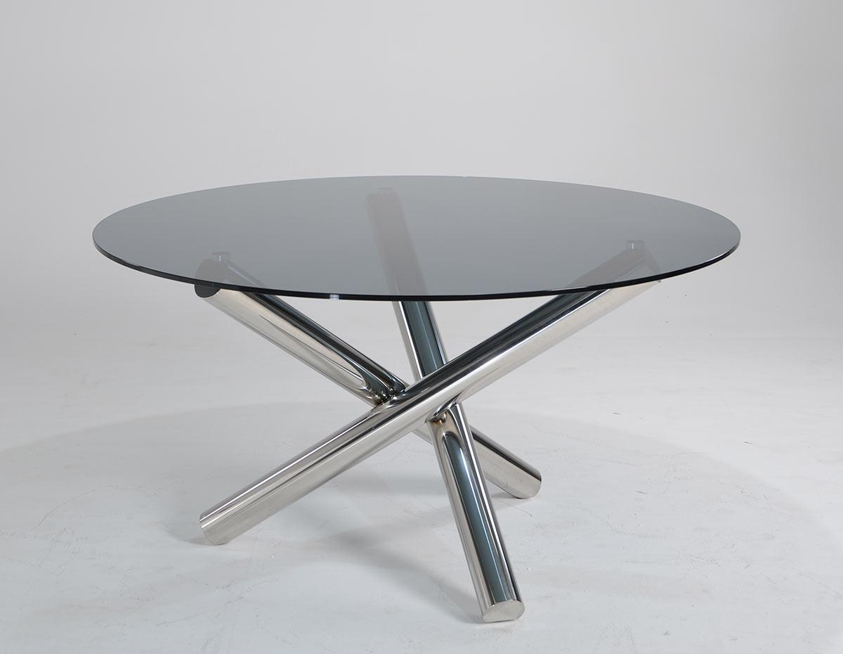 Modrest frau modern round dining table for Contemporary round dining table