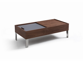 Modrest Gunnar Modern Walnut & Grey Coffee Table